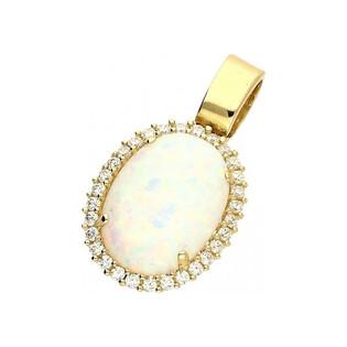 Zawieszka opal biały owal+cyrkonie c próba 585 Sezam - 1