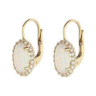 Kolczyki opal biały owal+cyrkonie-bigiel OS 96-3058 OPL próba 585 Sezam - 1