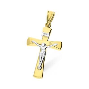 Krzyżyk złoty z wizerunkiem nr AR XXSTP210720-YW próba 585 Sezam - 1