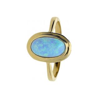 Złoty pierścionek opal niebieski OS 96-0071 BLU próba 585 Sezam - 1