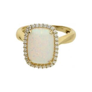 Pierścionek opal biały prostokąt+cyrkonie OS 96-3053 OPL próba 585 Sezam - 1