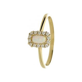 Pierścionek opal biały prostokąt+cyrkonie OS 96-3039 OPL próba 585 Sezam - 1