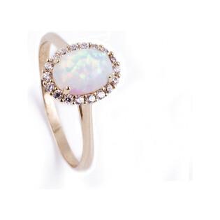 Pierścionek opal biały owal+cyrkonie OS 96-3057 OPL próba 585 Sezam - 1