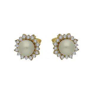 Kolczyki perła biała 7mm+cyrkonie w koło- MZ 136-CZ-PEARL próba 585 Sezam - 1