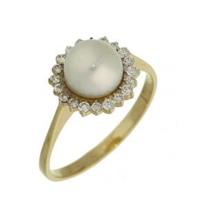 Pierścionek perła biała 7mm+cyrkonie w koło MZ 136-CZ-PEARL próba 585 Sezam - 1