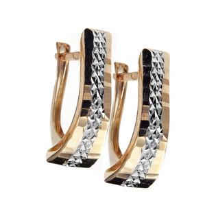 Kolczyki złote grawerowane blaszki dwukolorowe nr AR XDCNSE204968-2-YW próba 585 Sezam - 1