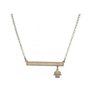 Naszyjnik m.perłowa blaszka+anioł TA CLT7894 próba 925 Sezam - 1