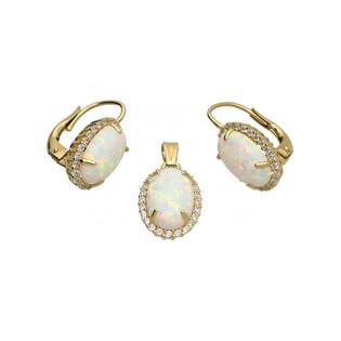 Kolczyki opal biały owal+cyrkonie-bigiel OS 96-3056 OPL próba 585 Sezam - 1