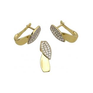 Kolczyki złote w kształcie liści z cyrkoniami 96-9075 Sezam - 1