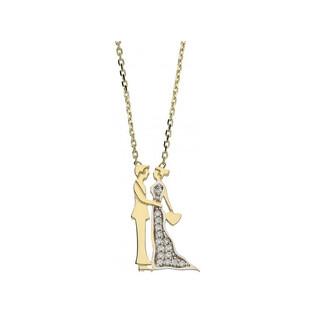 Naszyjnik złoty z cyrkoniami zakochana para numer OP OP486 Au 585 Sezam - 1