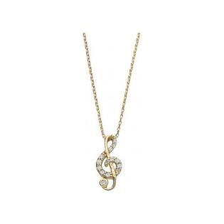 Naszyjnik złoty klucz wiolinowy cyrkonie numer OP OP488 Au 585 Sezam - 1