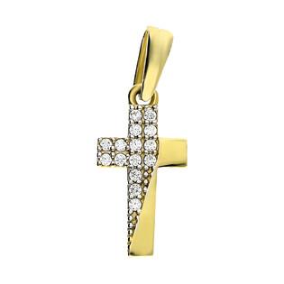 Krzyżyk złoty z cyrkoniami z boku LP 11U225-DP0057-YW-CZ próba 585