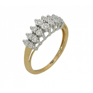 Złoty pierścionek z diamentami LINE RQ 420M próba 585 Sezam - 1