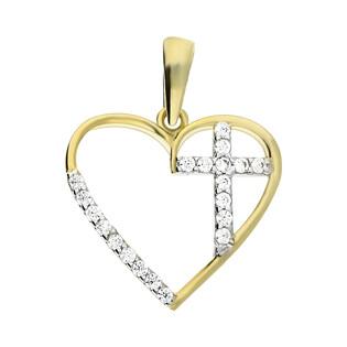Złoty krzyżyk w sercu z cyrkoniami MZ T23-P-100-CZ próba 585