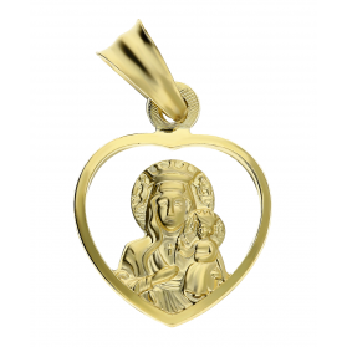 Medalik złoty Matka Częstochowska w sercu DJ109 próba 585