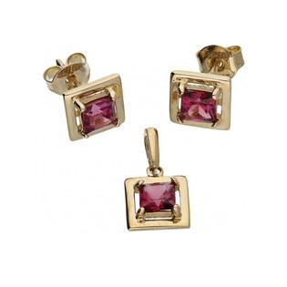 Kolczyki złote kwadratowe rodolit nr MZ EG-3-ROD Au 585 Sezam - 1