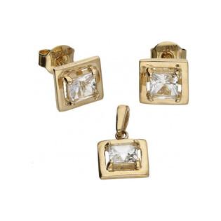 Kolczyki złote kwadratowe biały topaz nr MZ EG-3WT Au 585 Sezam - 1