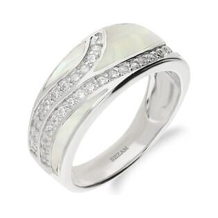 Pierścionek obrączkowy z białą masą perłową i cyrkoniami NJ27 3610002 próba 925