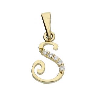 Literka złota S z cyrkoniami nr ZQ ZQS cyrkonie, próba 585 Sezam - 1