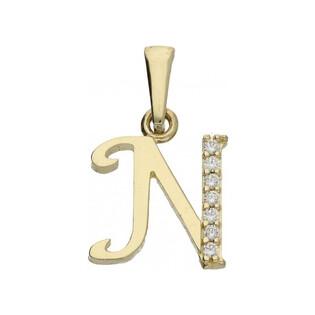 Literka złota N z cyrkoniami nr ZQ ZQN cyrkonie, próba 585 Sezam - 1