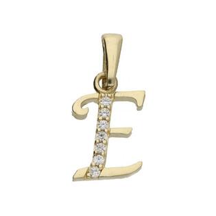 Literka złota E z cyrkoniami nr ZQ ZQE cyrkonie, próba 585 Sezam - 1