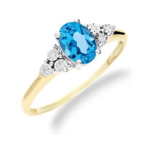 Pierścionek złoty zaręczynowy topaz blue diamenty RQ 397M-BT owal próba 585 Sezam - 1