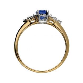 Pierścionek zaręczynowy z szafirem i brylantami RQ 397M-SA owal próba 585 Sezam - 1