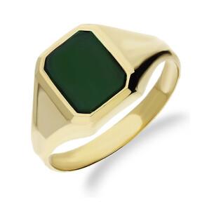 Sygnet męski złoty z agatem zielonym nr OS OS51 Au 585 Sezam - 1