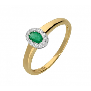 Pierścionek szmaragd 0,25ct+bryl.0,05ct RQ 52MCB96-EM Markiza gł. próba 585 Sezam - 1