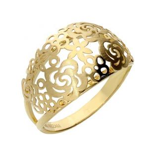 Pierścionek złoty blaszka kopułka ażur nr AR 0441-FL próba 585 Sezam - 1