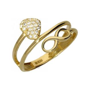 Pierścionek serce cyrkonie+infinity sprężynk AR 5146 próba 585 Sezam - 1