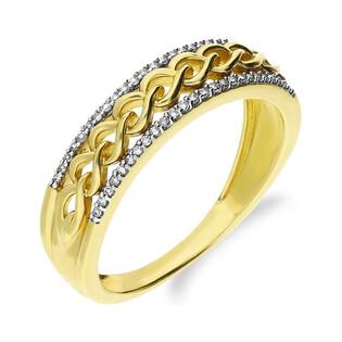 Pierścionek złoty z diamentami LINE KU 107099 próba 585 Sezam - 1