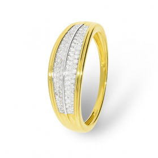 Pierścionek zaręczynowy z diamentami LINE KU 106861 próba 585 Sezam - 1