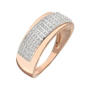 Pierścionek złoty zaręczynowy z diamentami LINE KU 107353 różowe złoto próba 585 Sezam - 1