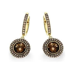 Kolczyki złote z kolekcji Wiktorii z diamentami i kwarcem dymnym nr KU 1330-1167 SMCH Sezam - 1