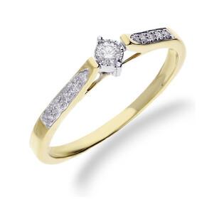 Pierścionek  złoty z diamentami SOLITER RQ 3306MC próba 585 Sezam - 1