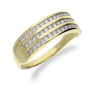 Pierścionek złoty obrączkowy z cyrkoniami nr OS 96-5065 AN Au 585 Sezam - 1