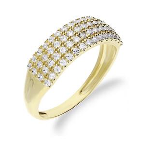 Pierścionek złoty obrączka z cyrkoniami nr OS 96-5081-AN Au 585 Sezam - 1