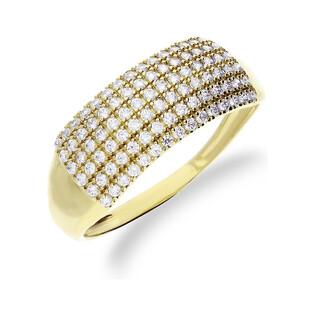 Pierścionek złoty obrączka z cyrkoniami nr OS 96-5083-AN Au 585 Sezam - 1