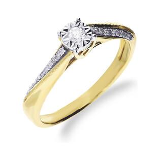 Pierścionek zaręczynowy z diamentami SOLITER MAGIC  RO K113 próba 585 Sezam - 1