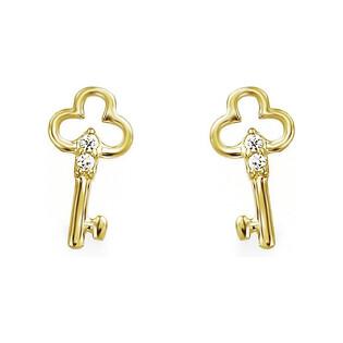Kolczyki złote kluczyki z cyrkoniami nr AR VALE6013-FCZ Au 585 Sezam - 1