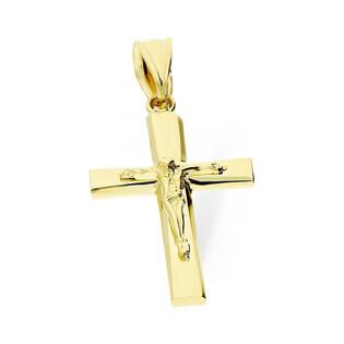Krzyżyk złoty gładki z wizerunkiem Jezusa nr AR XXP10877-II-LP Au 585 Sezam - 1