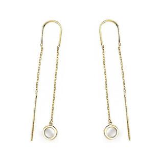 Kolczyki złote przeciągane z masą perłową nr AR KR(X-X4)FOR6EB0357-MOP Au 333 Sezam - 1