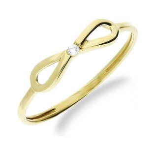 Pierścionek złoty kokarda z cyrkonią nr 1 MZ T5-R-191-CZ próba 333 Sezam - 1