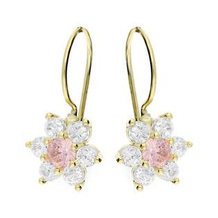 Kolczyki złote dla dziewczynki kwiatuszki jasnoróżowe nr MZ T5-A919 Au 585 Sezam - 1