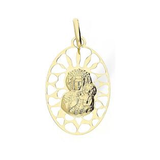Medalik złoty z wizerunkiem Matki Boskiej Częstochowskej nr BC BC066 Au 585 Sezam - 1