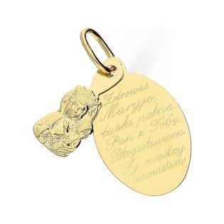 Medalik złoty z wizerunkiem Matki Boskiej z modlitwą nr TB TB001 Au 585 Sezam - 1