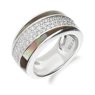 Pierścionek obrączkowy z zieloną masą perłową i cyrkoniami NJ28 3610020.3 próba 925