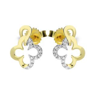 Kolczyki złote koniczyny z diamentami nr KU 102416-103199 Au 585 Sezam - 1