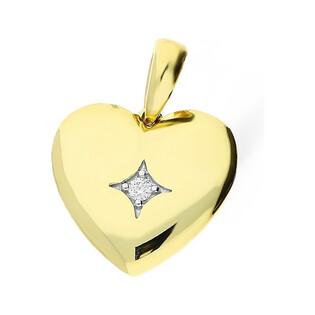 Serduszko złote z diamentem nr KU 103037 Au 585 Sezam - 1